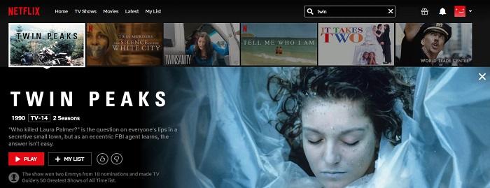Watching Twin peaks on American Netflix